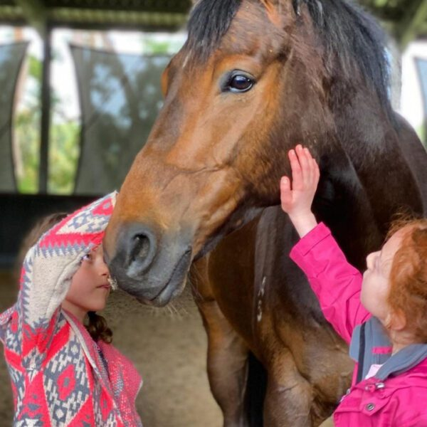 instructor guiding horse and girl